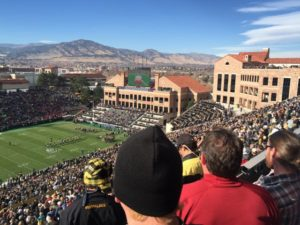 A look at the newer north and northeast structures at Folsom Field from the east stands.