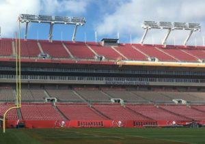 Tampa's Raymond James Stadium. DAS antennas visible on light standards. Photos credit: AT&T