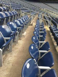 Under seat Wi-Fi APs visible down seating row at NRG Stadium. Credit: 5 Bars