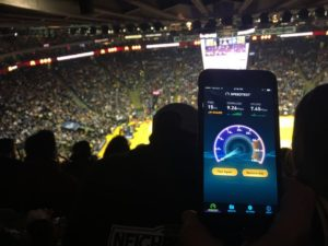 Solid speedtest in the upper deck seats at Oracle Arena on Feb. 1, 2017, for a Golden State Warriors game. Credit all photos: MSR (click on any photo for a larger image)