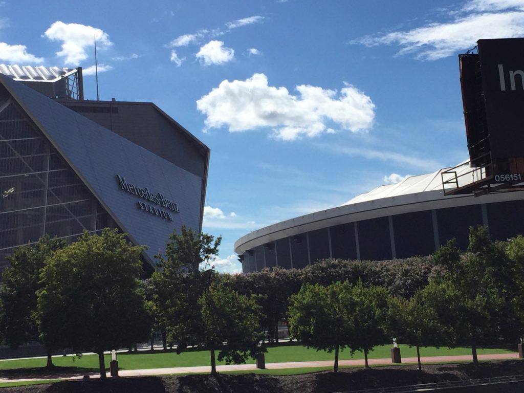 Atlanta s mercedes benz stadium nears the finish line for Atlanta airport to mercedes benz stadium